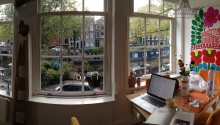 beautiful view from rental apt in Amsterdam, never want to leave